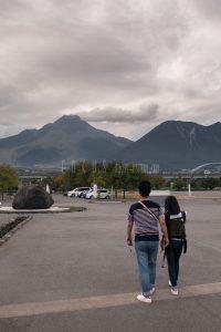 記念館から雲仙岳を臨む